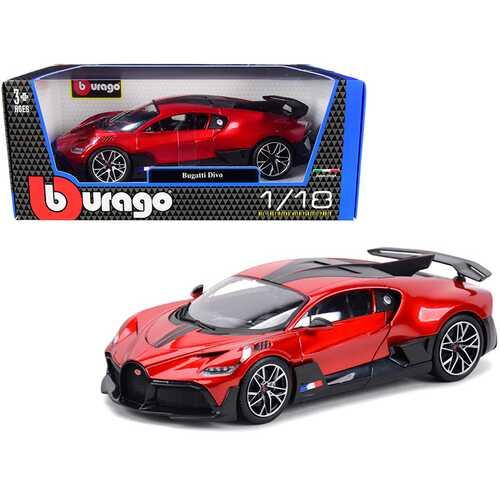 Bugatti Divo Red Metallic with Carbon Accents 1/18 Diecast Model Car by Bburago