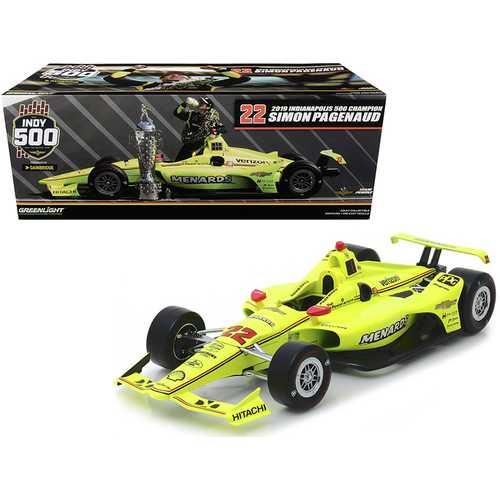 "Dallara Indy Car #22 Simon Pagenaud ""Menards"" Team Penske Indianapolis 500 Champion (2019) 1/18 Diecast Model Car by Greenlight"