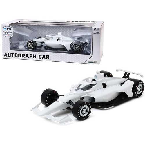 "Autograph IndyCar Plain White with Chrome Wheels ""NTT IndyCar Series"" 1/18 Diecast Model Car by Greenlight"