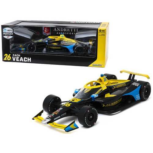 """Dallara Indy Car #26 Zach Veach """"Gainbridge"""" """"Andretti Autosport"""" NTT IndyCar Series (2020) 1/18 Diecast Model Car by Greenlight"""