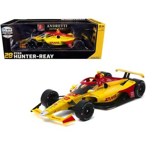 """Dallara IndyCar #28 Ryan Hunter-Reay """"DHL"""" Andretti Autosport """"NTT IndyCar Series"""" (2020) 1/18 Diecast Model Car by Greenlight"""