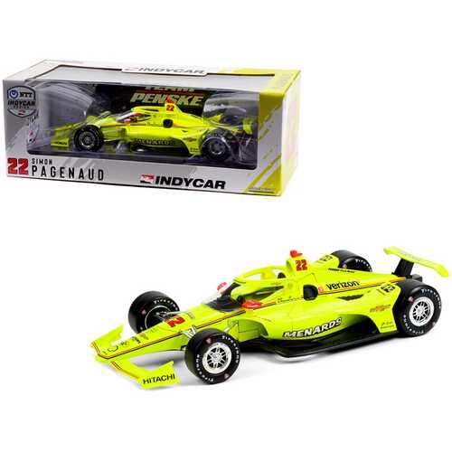 """Dallara IndyCar #22 Simon Pagenaud """"Menards"""" Team Penske """"NTT IndyCar Series"""" (2021) 1/18 Diecast Model Car by Greenlight"""