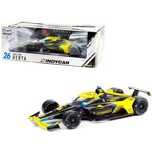 """Dallara IndyCar #26 Colton Herta """"Gainbridge"""" Andretti Autosport """"NTT IndyCar Series"""" (2021) 1/18 Diecast Model Car by Greenlight"""