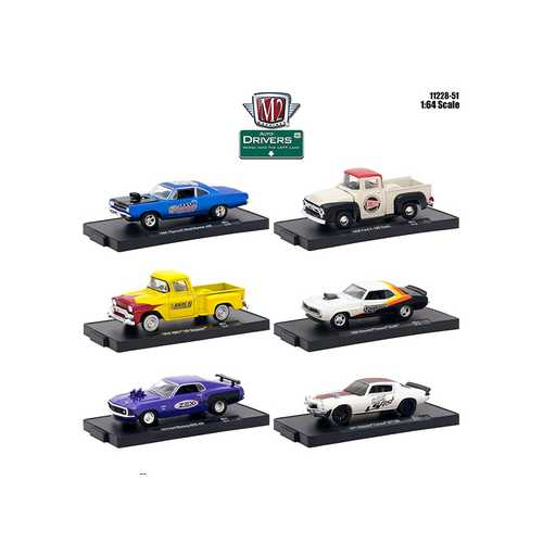 Drivers 6 Cars Set Release 51 in Blister Packs 1/64 Diecast Model Cars by M2 Machines