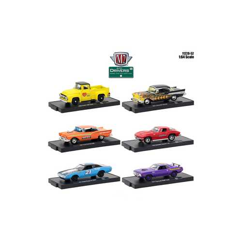 Drivers 6 Cars Set Release 52 in Blister Packs 1/64 Diecast Model Cars by M2 Machines