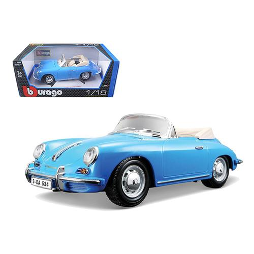 1961 Porsche 356B Convertible Blue 1/18 Diecast Car Model by Bburago