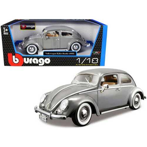 1955 Volkswagen Kafer Beetle Gray 1/18 Diecast Model Car by Bburago