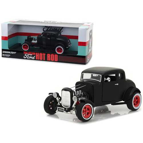 1932 Ford Custom Hot Rod Matt Black 1/18 Diecast Car Model by Greenlight