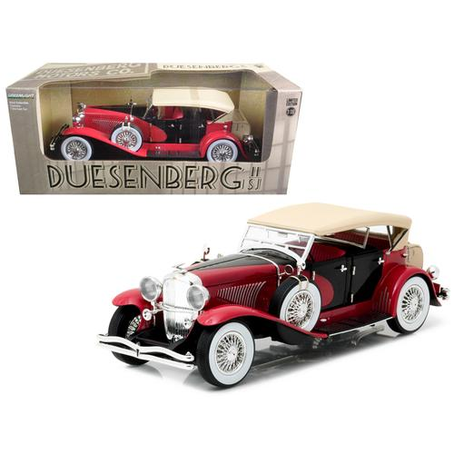 1934 Duesenberg II SJ Red and Black 1/18 Diecast Model Car by Greenlight