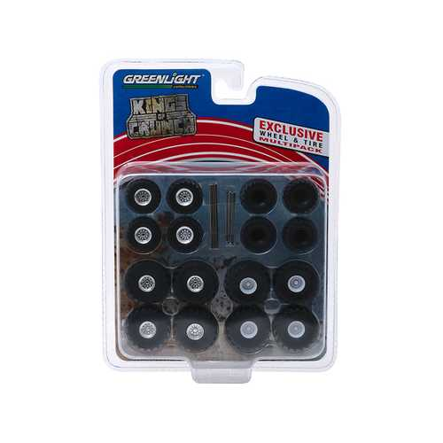 """Monster Trucks"" Wheel and Tire Multipack ""Kings of Crunch"" Set of 24 pieces 1/64 by Greenlight"