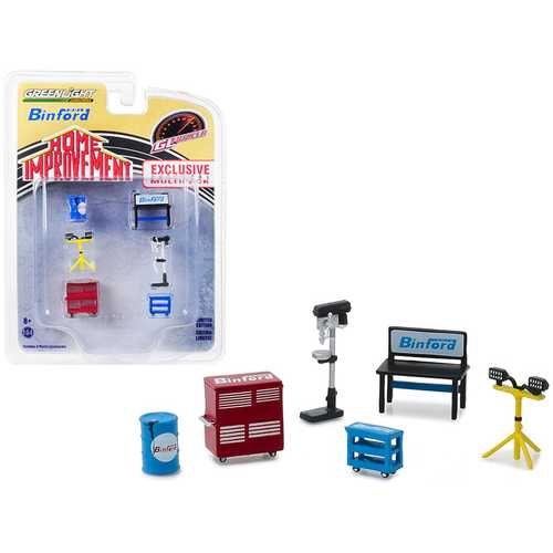 """""""Binford Tools"""" 6 piece Shop Tools Set """"Home Improvement"""" (1991-1999) TV Series """"Hobby Exclusive"""" 1/64 by Greenlight"""