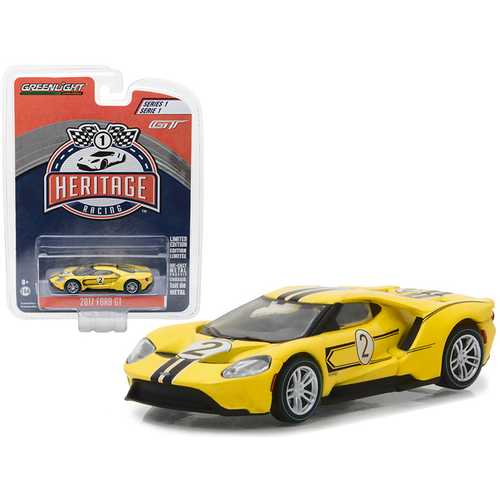 2017 Ford GT Yellow #2 - Tribute to 1967 Ford GT40 MK IV #2 Racing Heritage Series 1 1/64 Diecast Model Car by Greenlight