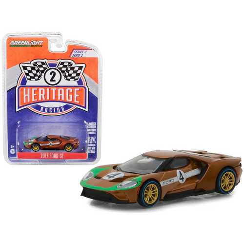 "2017 Ford GT #4 Tribute to 1966 Ford GT40 Mk II Brown ""Ford Racing Heritage"" Series 2 1/64 Diecast Model Car by Greenlight"