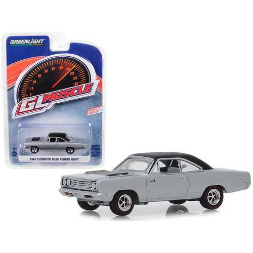 "1968 Plymouth Road Runner Hemi Buffed Silver with Black Top ""Greenlight Muscle"" Series 22 1/64 Diecast Model Car by Greenlight"