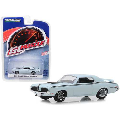 """1970 Mercury Cougar Eliminator Pastel Blue with Black Stripes """"Greenlight Muscle"""" Series 22 1/64 Diecast Model Car by Greenlight"""