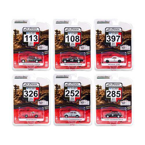 """""""La Carrera Panamericana"""" 70 Years Anniversary (1950-2020) Set of 6 pieces Series 3 1/64 Diecast Model Cars by Greenlight"""