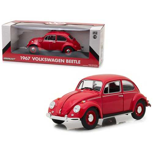 1967 Volkswagen Beetle Right Hand Drive Candy Apple Red 1/18 Diecast Model Car by Greenlight