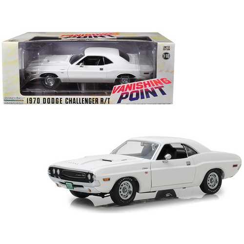 "1970 Dodge Challenger R/T White ""Vanishing Point"" (1971) Movie 1/18 Diecast Model Car by Greenlight"