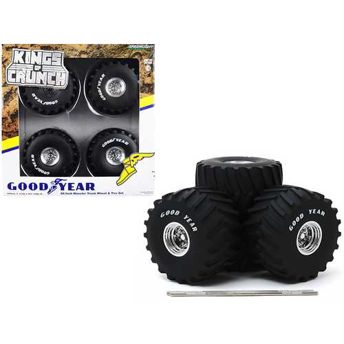 """66-Inch Monster Truck """"Goodyear"""" Wheels and Tires 6 piece Set """"Kings of Crunch"""" 1/18 by Greenlight"""
