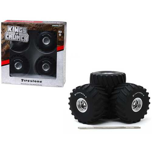"""66-Inch Monster Truck """"Firestone"""" Wheels and Tires 6 piece Set """"Kings of Crunch"""" 1/18 by Greenlight"""