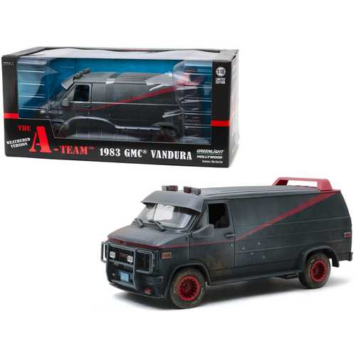 "1983 GMC Vandura Black Weathered Version with Bullet Holes ""The A-Team"" (1983-1987) TV Series 1/18 Diecast Model Car by Greenlight"