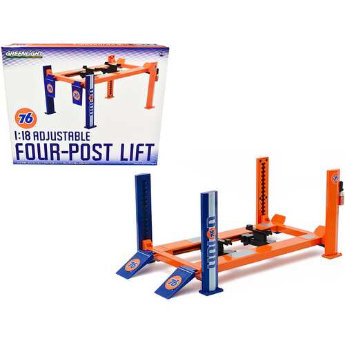 "Adjustable Four Post Lift Orange and Blue ""Union 76"" for 1/18 Scale Diecast Model Cars by Greenlight"