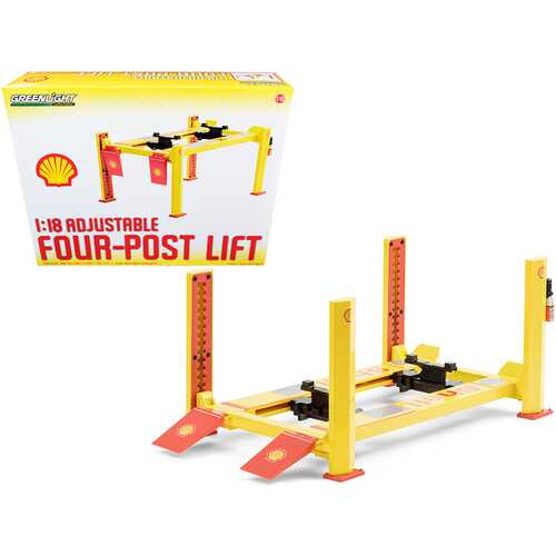 "Adjustable Four Post Lift ""Shell Oil"" #2 for 1/18 Scale Diecast Model Cars by Greenlight"