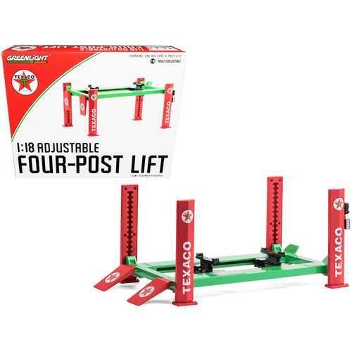 "Adjustable Four Post Lift ""Texaco"" for 1/18 Scale Diecast Model Cars by Greenlight"