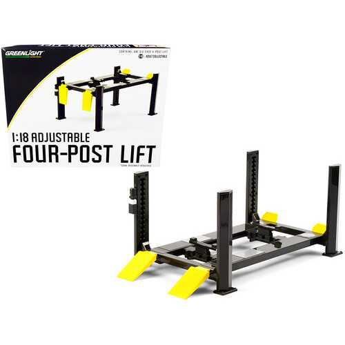 Adjustable Four Post Lift Dark Gray with Yellow Ramps for 1/18 Scale Diecast Model Cars by Greenlight