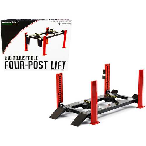 Adjustable Four Post Lift Red and Dark Gray for 1/18 Scale Diecast Model Cars by Greenlight