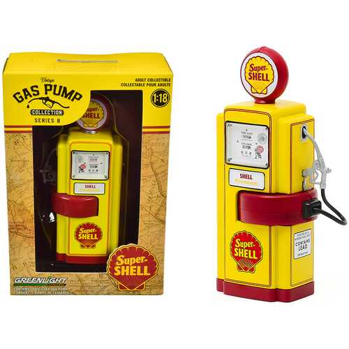 """1948 Wayne 100-A Gas Pump """"Super Shell"""" Yellow and Red """"Vintage Gas Pumps"""" Series 8 1/18 Diecast Model by Greenlight"""