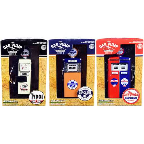 """Vintage Gas Pump"" Set of 3 Pumps Series 9 1/18 Diecast Models by Greenlight"