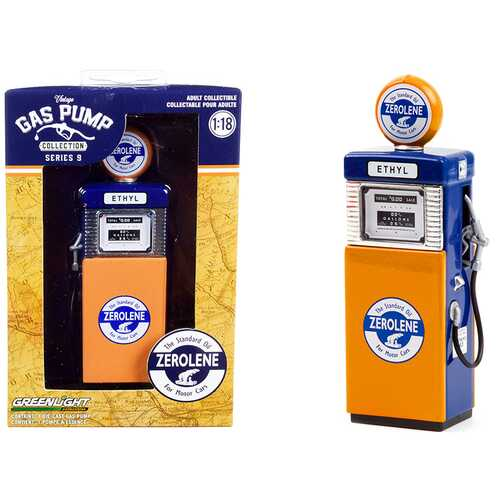 """1951 Wayne 505 Gas Pump """"Zerolene The Standard Oil for Motor Cars"""" Orange and Blue """"Vintage Gas Pumps"""" Series 9 1/18 Diecast Model by Greenlight"""