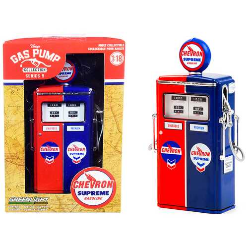 """1954 Tokheim 350 Twin Gas Pump """"Chevron Supreme"""" Red and Blue """"Vintage Gas Pumps"""" Series 9 1/18 Diecast Model by Greenlight"""