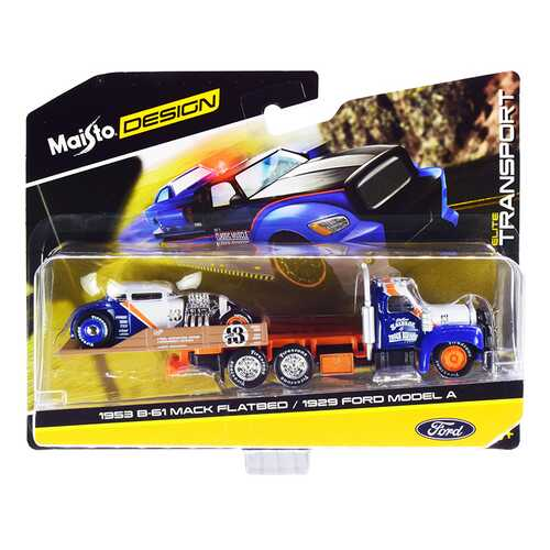 """1953 Mack B-61 Flatbed Truck with 1929 Ford Model A #13 Blue and White with Orange Stripe """"Elite Transport"""" Series 1/64 Diecast Models by Maisto"""