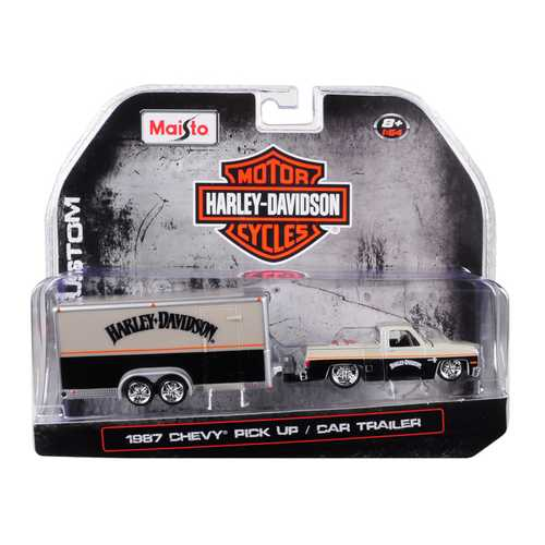 "1987 Chevrolet Pickup Truck with Enclosed Car Trailer Pearl Beige/ Silver and Black ""Harley Davidson"" 1/64 Diecast Model Car by Maisto"
