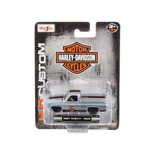 """1987 Chevrolet Silverado 1500 Pickup Truck with Bed Cover Silver with Black and Orange Stripes """"Harley-Davidson"""" """"H-D Custom"""" 1/64 Diecast Model Car by Maisto"""