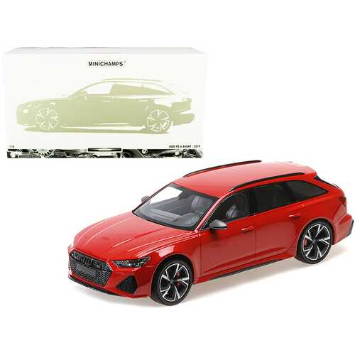 2019 Audi RS 6 Avant Red Metallic Limited Edition to 300 pieces Worldwide 1/18 Diecast Model Car by Minichamps
