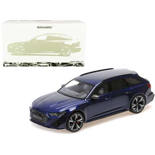 2019 Audi RS 6 Avant Blue Metallic Limited Edition to 402 pieces Worldwide 1/18 Diecast Model Car by Minichamps