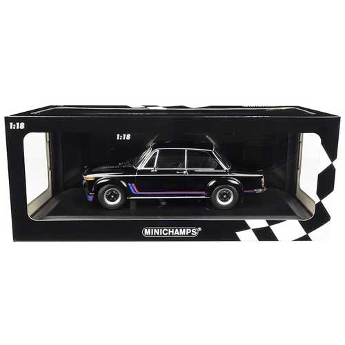 1973 BMW 2002 Turbo Black with Stripes Limited Edition to 360 pieces Worldwide 1/18 Diecast Model Car by Minichamps