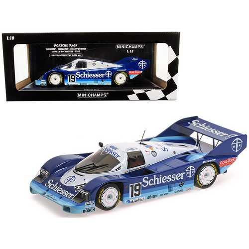 """Porsche 956K #19 Stefan Belloff / Thierry Boutsen """"Schiesser"""" (Team Brun) 1000 km Hockenheim (1985) Limited Edition to 1,004 pieces Worldwide 1/18 Diecast Model Car by Minichamps"""