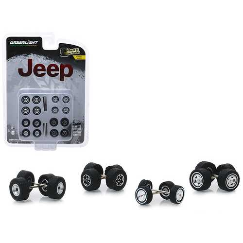 """Jeep"" Wheel and Tire Multipack Set of 24 pieces ""Wheel & Tire Packs"" Series 1 1/64 by Greenlight"