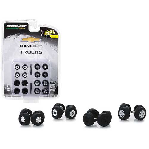 """Chevrolet Trucks"" Wheels and Tires Multipack Set of 24 pieces ""Wheel & Tire Packs"" Series 2 1/64 by Greenlight"