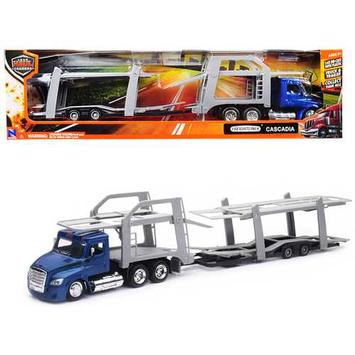 "Freightliner Cascadia with Twin Auto Carrier Blue and Gray ""Long Haul Trucker"" 1/43 Diecast Model by New Ray"