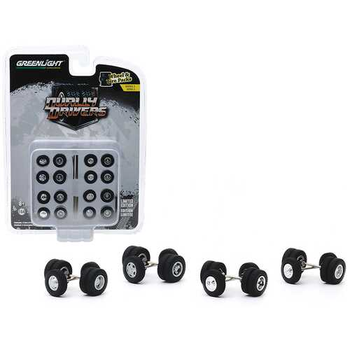 """Dually Drivers"" Wheels and Tires Multipack Set of 24 pieces ""Wheel & Tire Packs"" Series 3 1/64 by Greenlight"