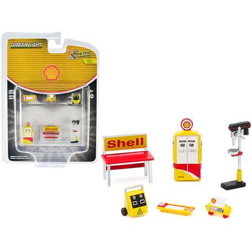 """""""Shell Oil"""" 6 piece Shop Tools Set """"Shop Tool Accessories"""" Series 3 1/64 by Greenlight"""