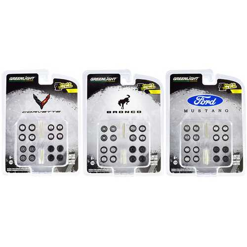 """""""Wheel & Tire Packs"""" Set of 3 Multipacks Series 5 for 1/64 Scale Models by Greenlight"""