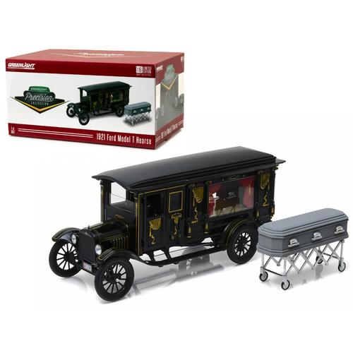 1921 Ford Model T Ornate Carved Hearse with Coffin Black Precision Collection Limited Edition 1/18 Diecast Model Car by Greenlight