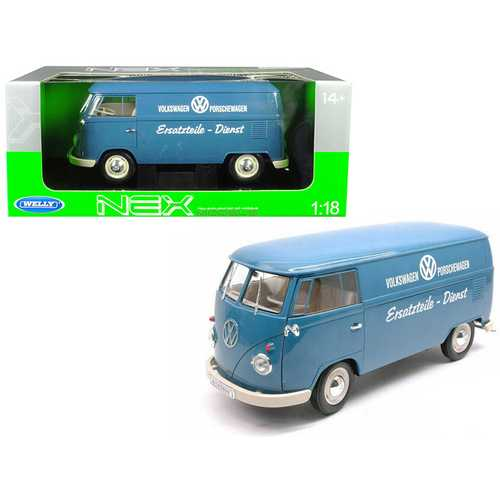 "1963 Volkswagen T1 Microbus ""Volkswagen Porschewagen"" Blue 1/18 Diecast Model by Welly"