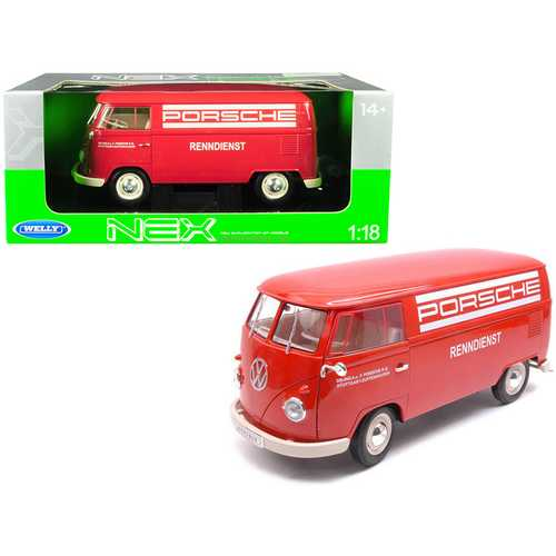 "1963 Volkswagen T1 Microbus ""Porsche"" Red 1/18 Diecast Model by Welly"